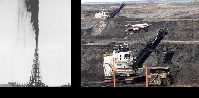 Comparaison entre un puits de pétrole de Spindletop et les sables bitumineux au Canada
